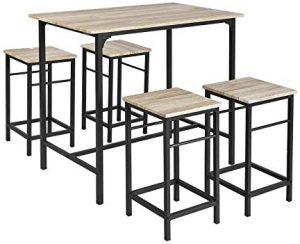 Mesa de cocina alta de bar y taburetes