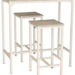 Mesa alta de cocina Yelloo con taburetes y estructura metálica
